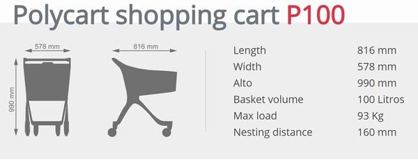 Пластиковая покупательская тележка — P100 Urban Shopper