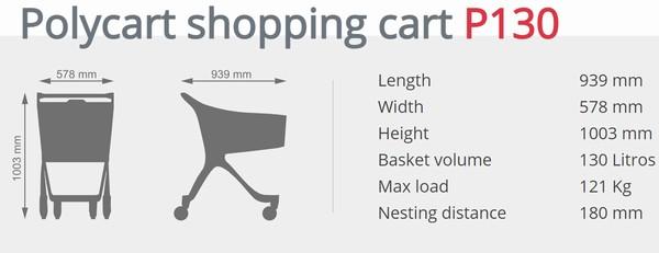 Пластиковий купівельний візок - P130 Aisle Rider