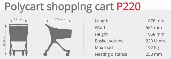 Пластиковий купівельний візок - P220 Super Charger
