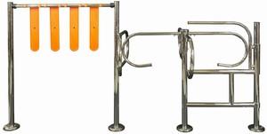 Механический турникет - вертушка METAL-POZ с воротами для тележек КОМПЛЕКТ